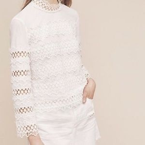 Anthropologie Harlyn High Neck Lace Top white L